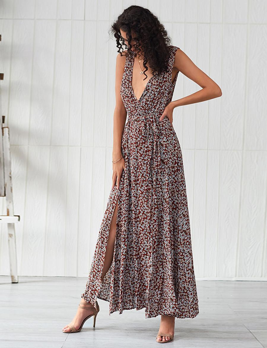Women's Basic Sheath Swing Dress - Floral Split Lace up Print Light Brown L XL XXL