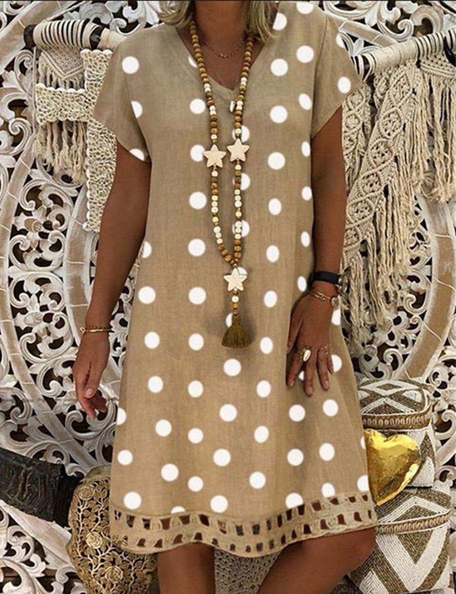 Women's Plus Size Shift Dress Knee Length Dress - Short Sleeve Polka Dot Print Summer V Neck Casual Holiday Vacation 2020 Blue Red Khaki Green Gray M L XL XXL XXXL XXXXL XXXXXL