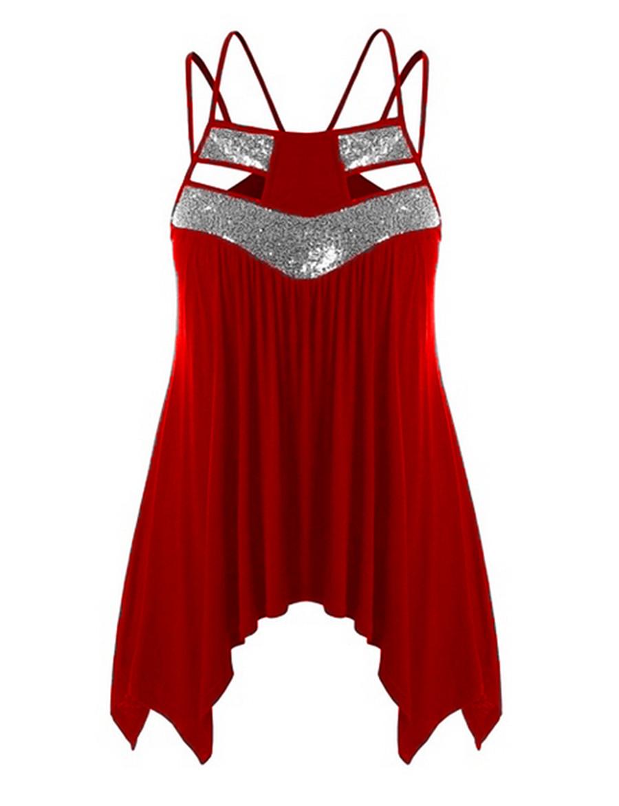 Women's Casual Plus Size Basic Plus Size Cotton Tank Top - Solid Colored Sequins Strap Black
