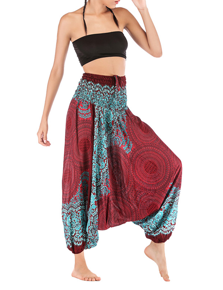 Women's Basic Harem Pants - Patterned White Wine Army Green One-Size