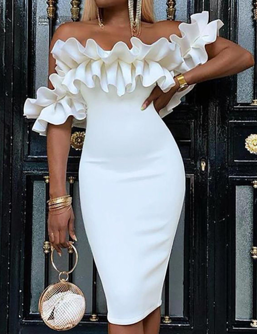 Women's Sheath Dress Knee Length Dress - Sleeveless Ruched Spring Summer Off Shoulder Elegant Hot Sexy Going out Cotton Slim 2020 White S M L XL XXL 3XL