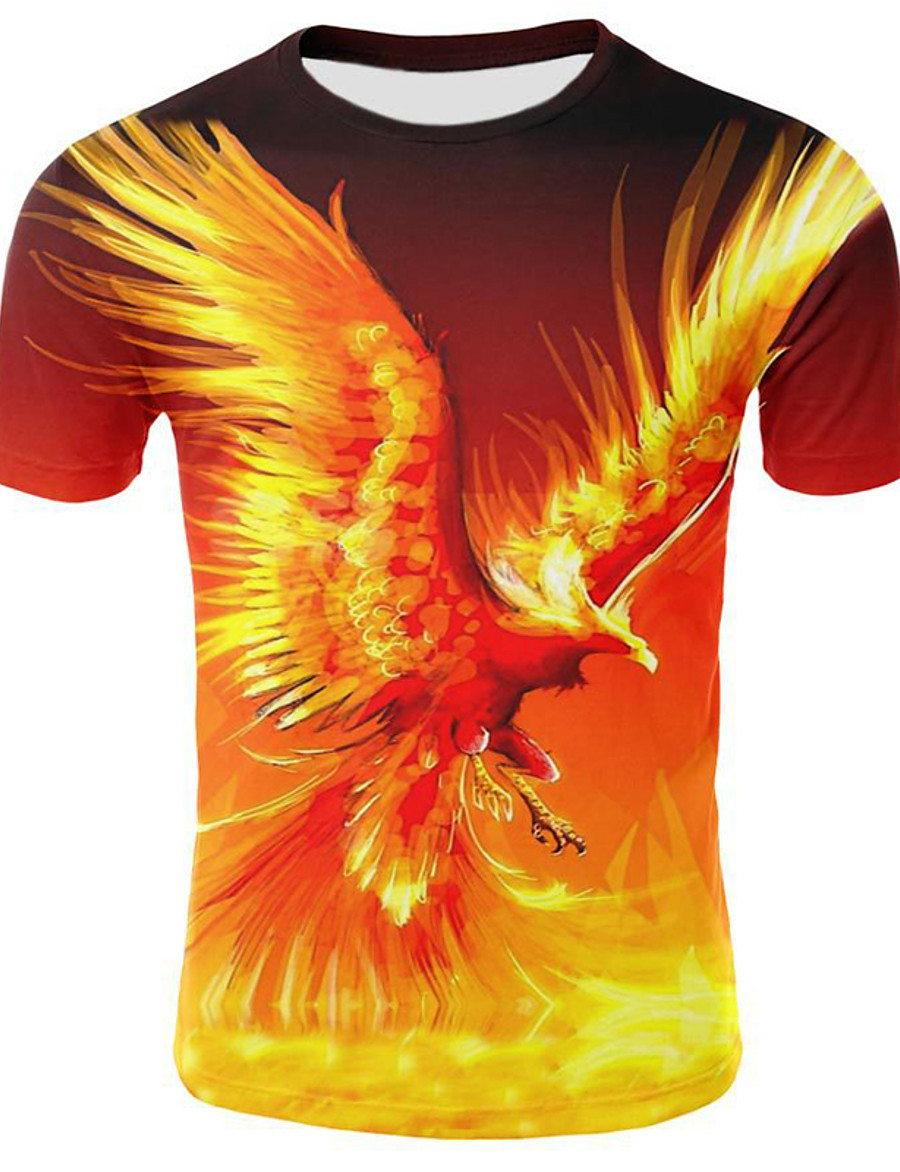 Men's T shirt Shirt Graphic Flame Plus Size Pleated Patchwork Short Sleeve Casual Tops Round Neck Yellow / Summer