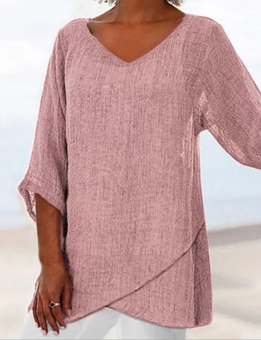 Women's Daily Wear Cotton Loose T-shirt - Solid Colored Dusty Rose V Neck Blushing Pink