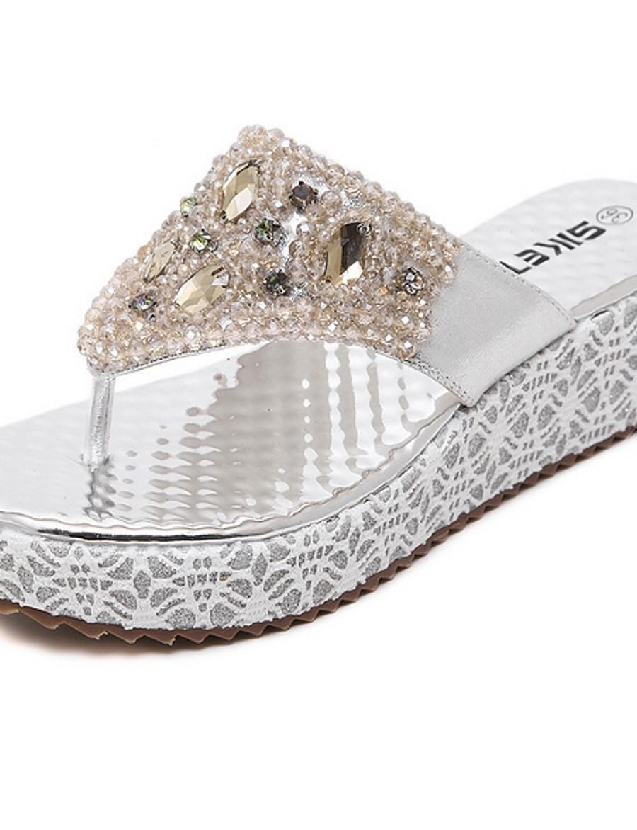 Women's Slippers & Flip-Flops Wedge Heel Round Toe Rhinestone PU Summer Gold / Silver