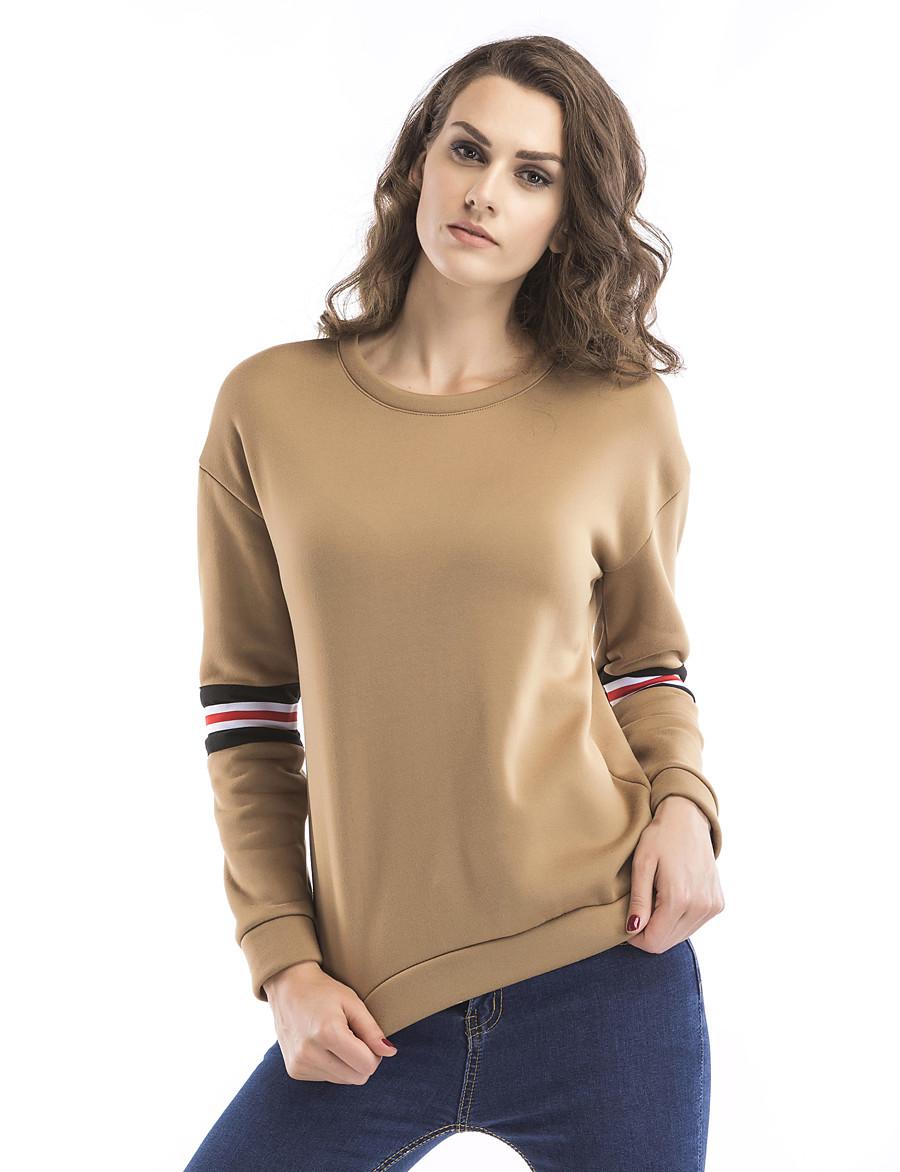 Women's Basic / Street chic Sweatshirt - Letter Khaki S