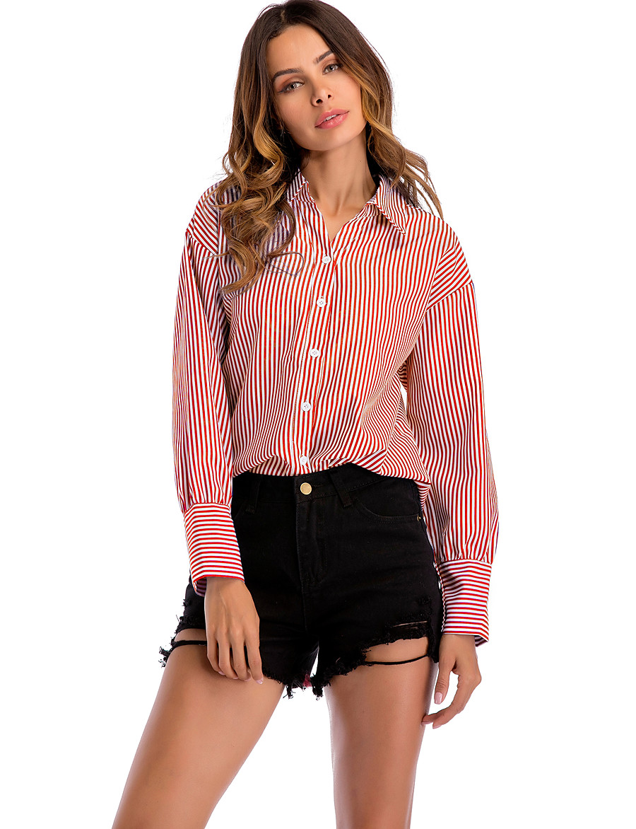 Women's Daily Basic / Street chic Shirt - Striped Patchwork Blue