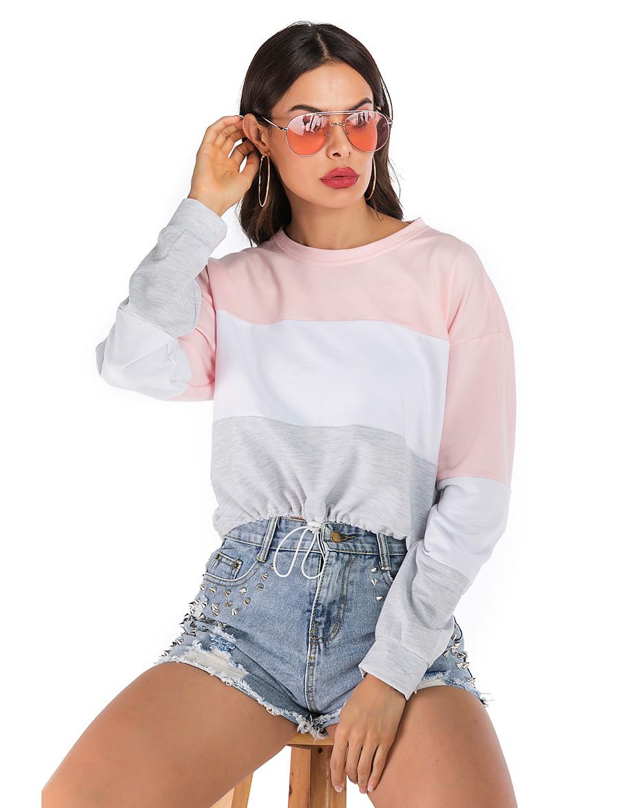 Women's Sweatshirt Color Block Basic / Street chic Cotton Loose Rainbow S M L XL