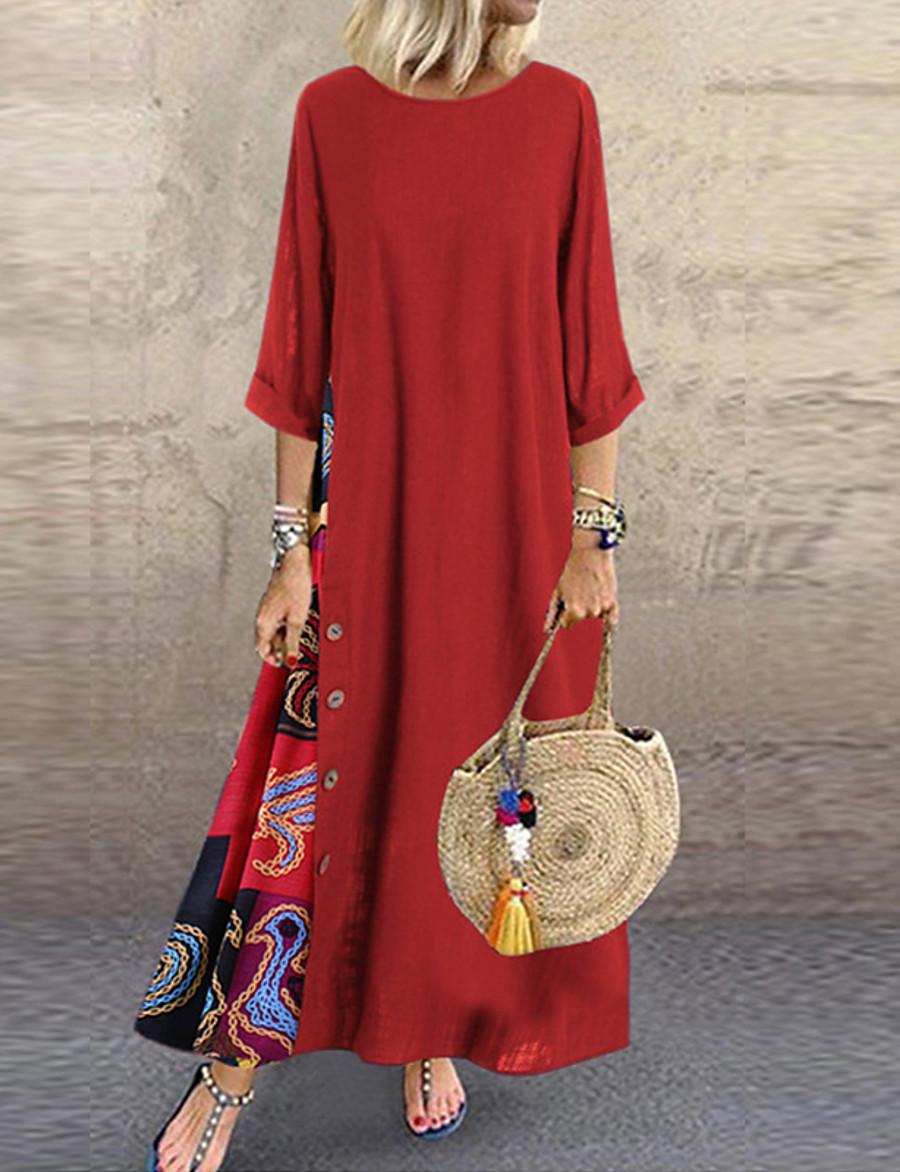 Women's Plus Size Maxi Swing Dress - Long Sleeve Color Block Blue Red Yellow L XL XXL XXXL XXXXL XXXXXL