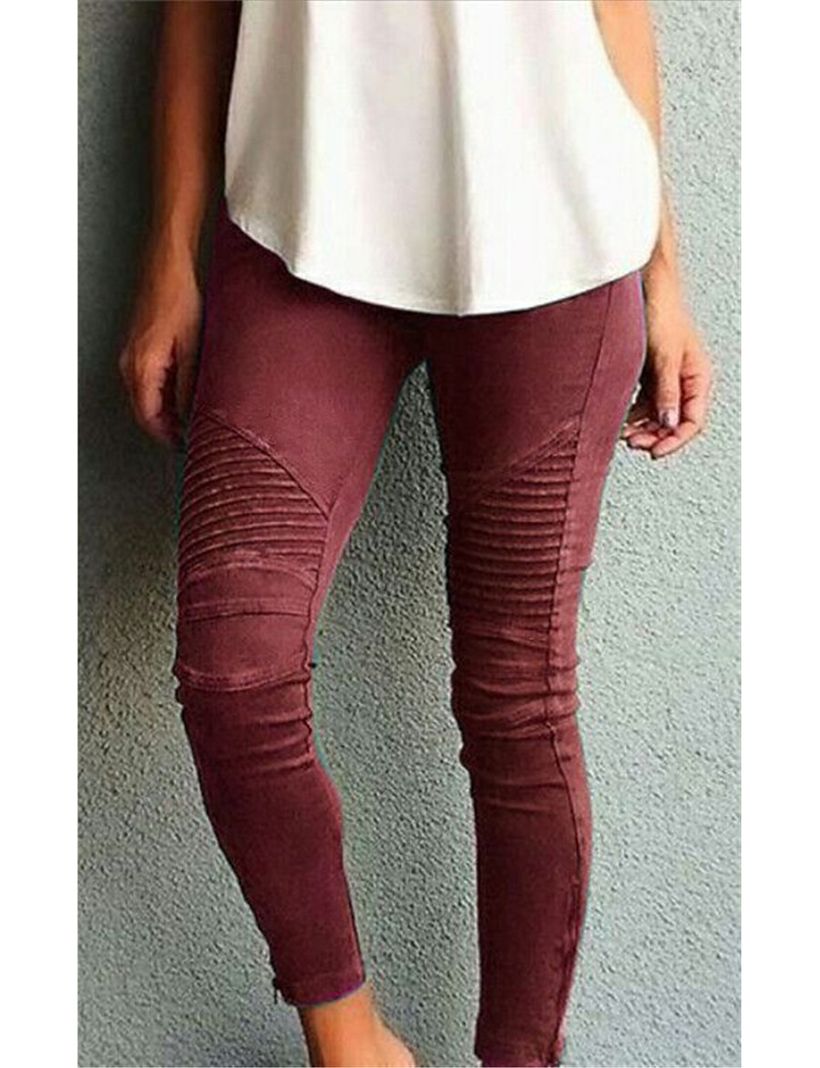 Women's Basic Slim Pants Solid Colored High Waist Black Blue Wine