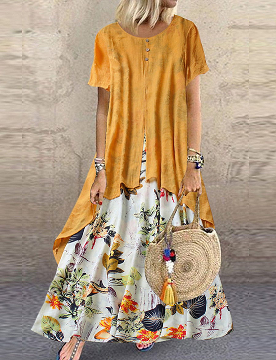 Women's Plus Size Two Piece Dress Maxi long Dress - Short Sleeve Floral Layered Button Print Summer Casual Holiday Vacation Loose 2020 Purple Yellow Pink Orange Green M L XL XXL XXXL XXXXL XXXXXL