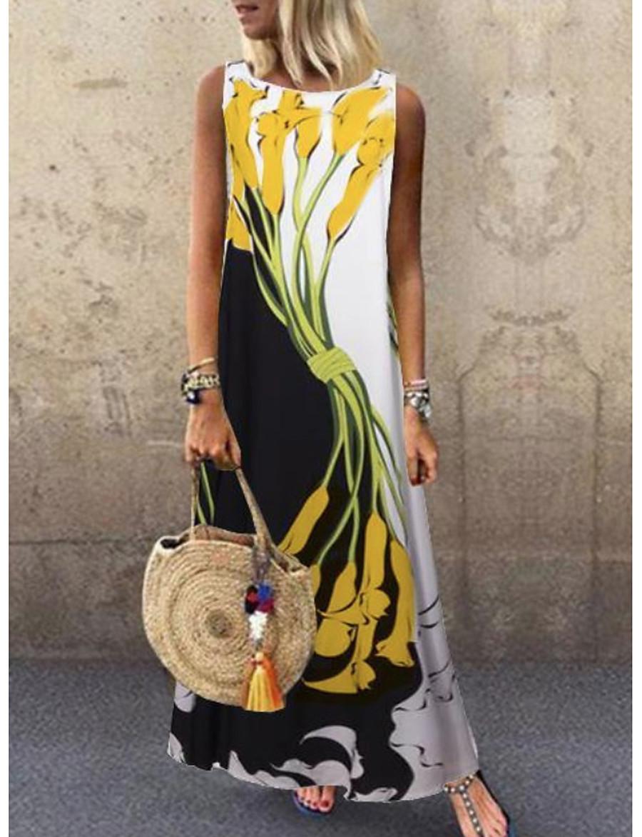 Women's A-Line Dress Maxi long Dress - Sleeveless Floral Print Spring & Summer Plus Size Casual Holiday vacation dresses 2020 Yellow S M L XL XXL 3XL 4XL 5XL