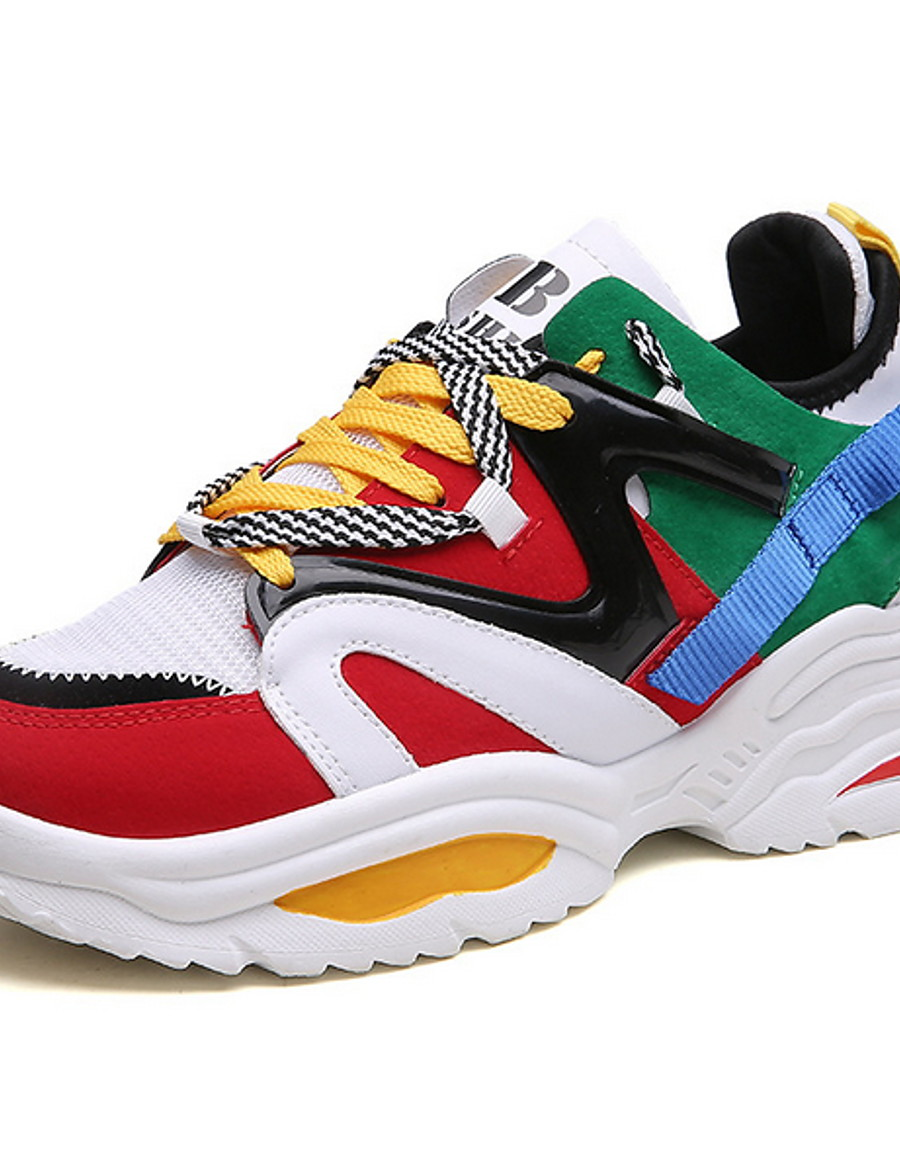 Unisex Sneakers Plus Size Flat Heel Round Toe Daily Mesh Summer White / Black / Rainbow