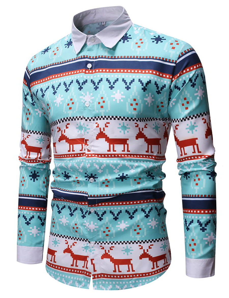 Men's Color Block Deer Print Shirt Basic Party Daily Light Blue / Long Sleeve