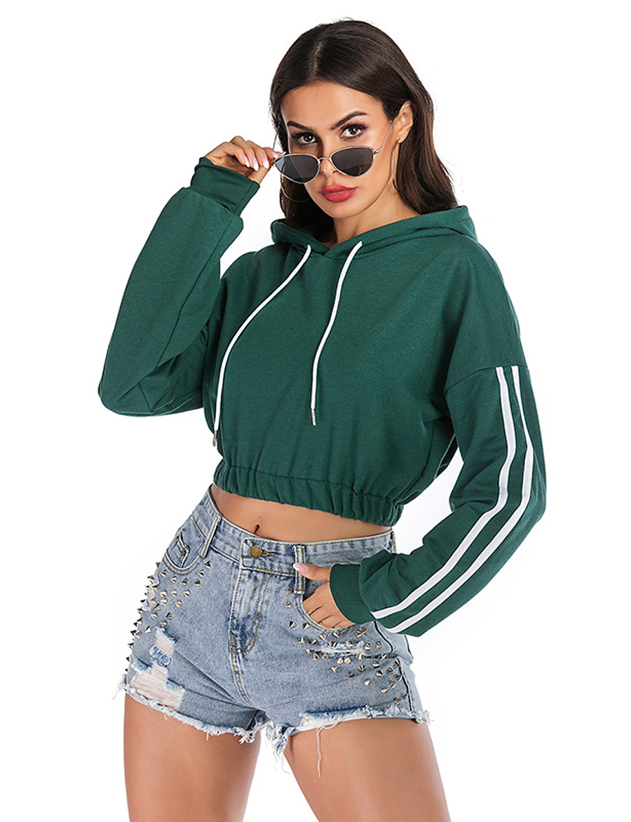 Women's Basic / Street chic Hoodie - Solid Colored Green S