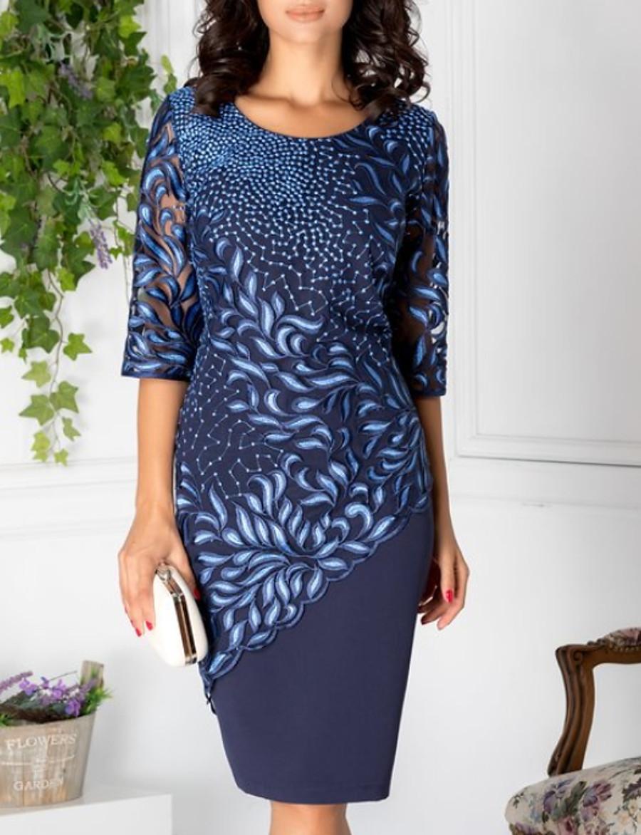Women's Blue Dress Elegant Shift Geometric Lace Print M L