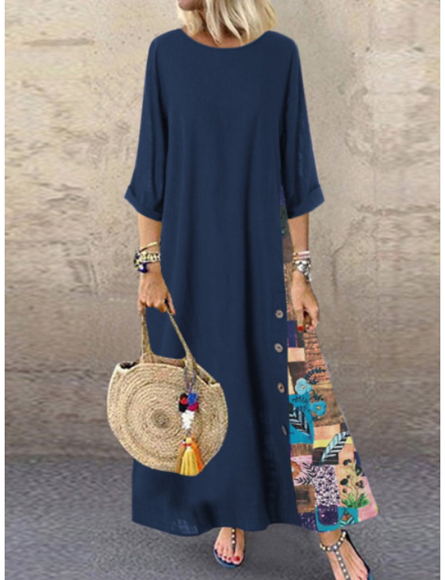 Women's Maxi A Line Dress - 3/4 Length Sleeve Floral Patchwork Spring & Summer Plus Size Abaya Holiday Vacation Red Green Navy Blue L XL XXL XXXL XXXXL XXXXXL / Cotton