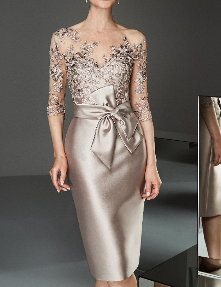Sheath / Column Mother of the Bride Dress Elegant Bateau Neck Knee Length Satin Tulle Half Sleeve with Bows Beading Appliques 2020