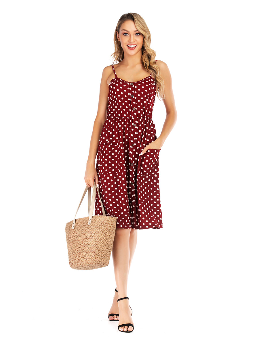 Women's Basic Street chic Swing Dress - Geometric Print Red S M L XL