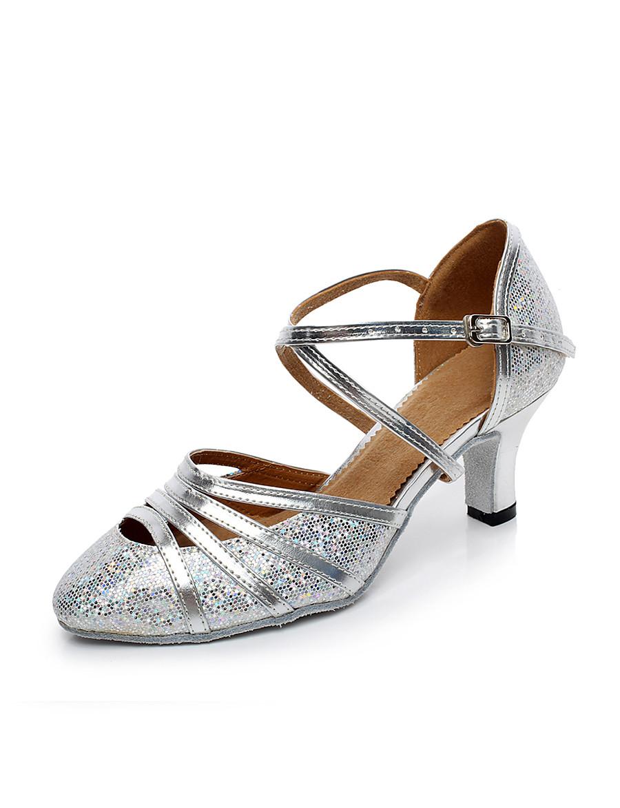Femme Chaussures Modernes Salon Talon Boucle Talon Bobine Jaune Argent Lanière en T