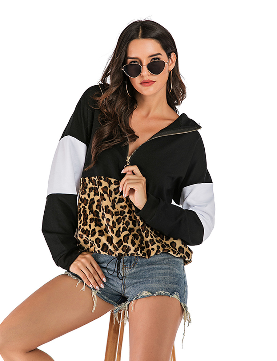 Women's Basic / Street chic Hoodie - Leopard / Color Block Black S