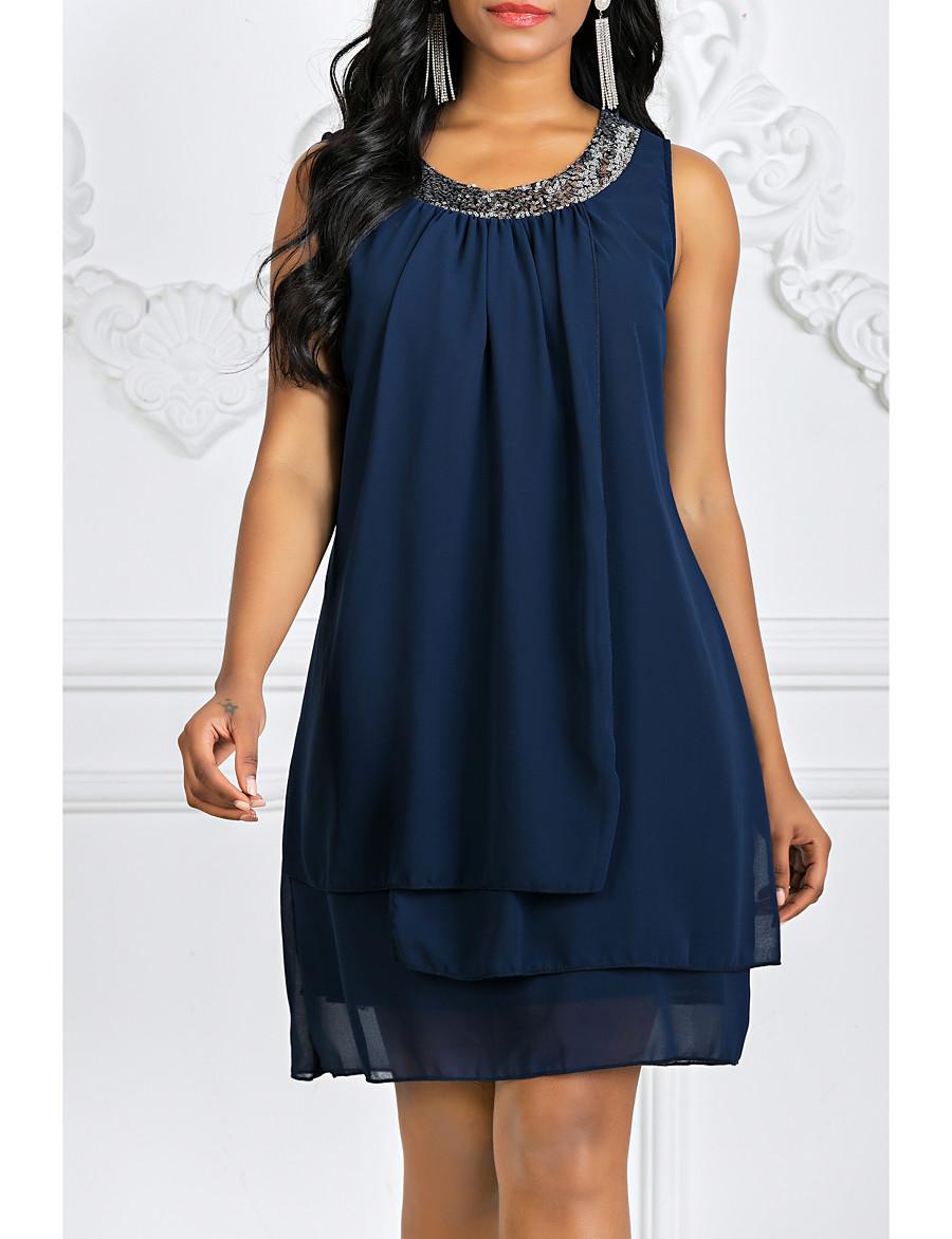 Women's Shift Dress Knee Length Dress - Sleeveless Solid Colored Layered Summer Spring & Summer Plus Size Hot Going out Chiffon 2020 Black Purple Navy Blue S M L XL XXL 3XL