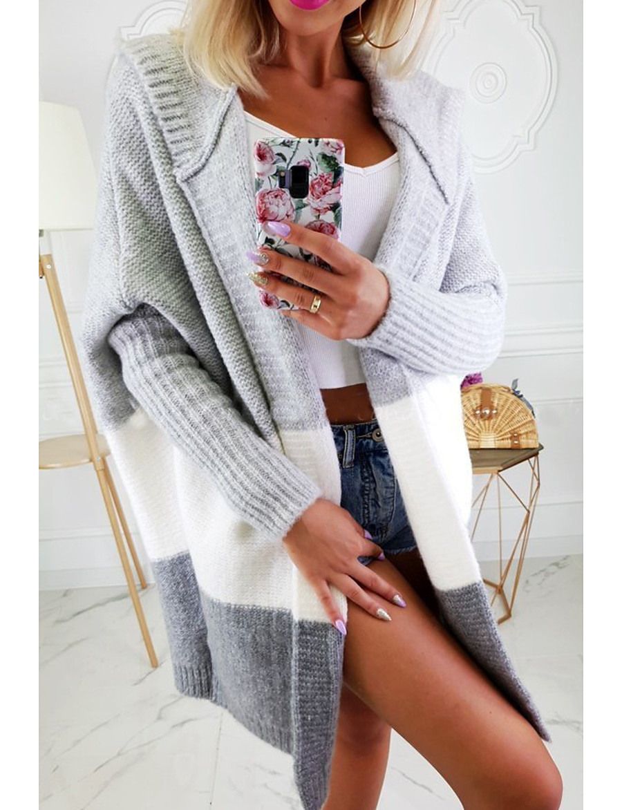 Women's Color Block Long Sleeve Cardigan Sweater Jumper, Hooded White / Blushing Pink / Gray S / M / L