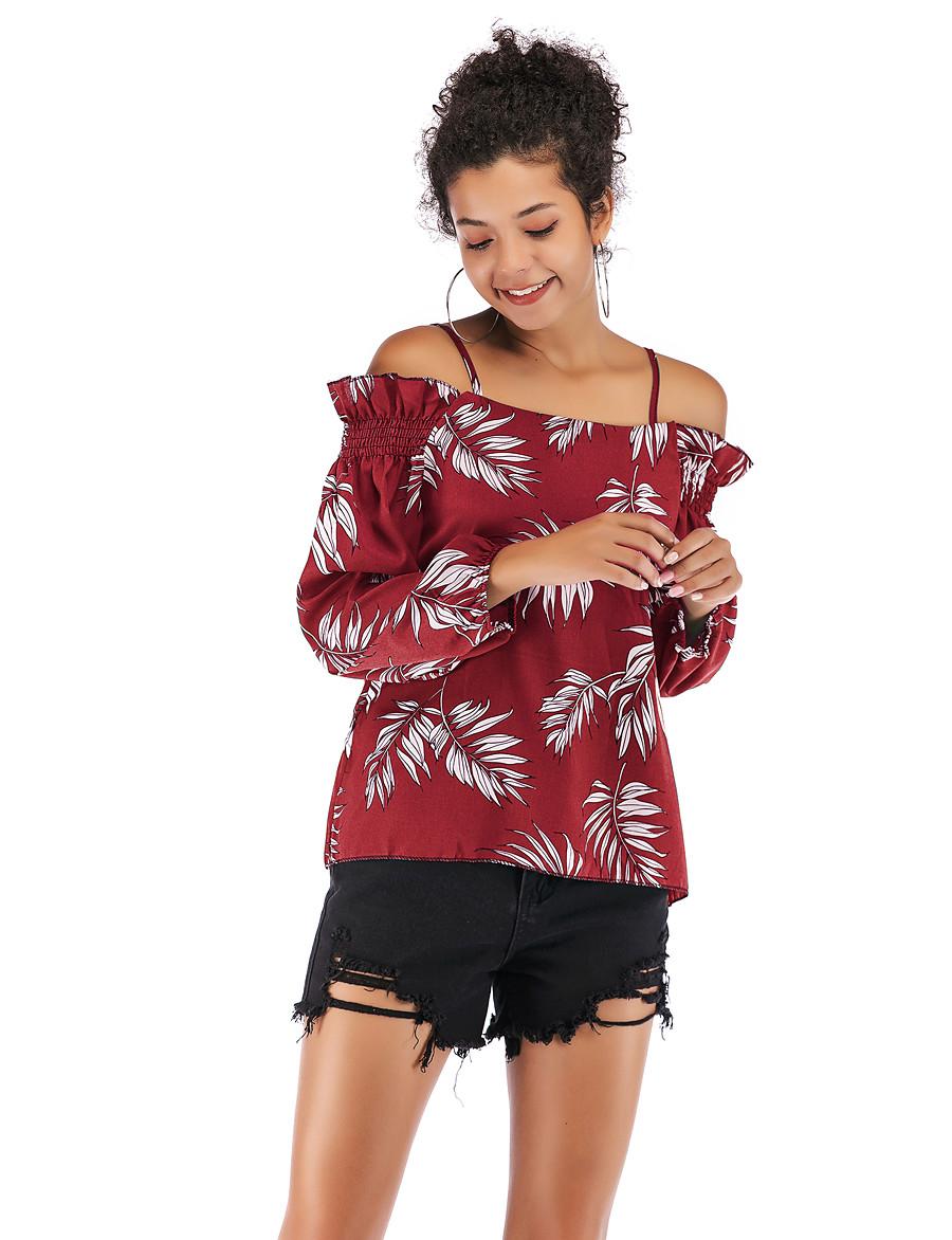 Women's Blouse Shirt Geometric Long Sleeve Print Off Shoulder Tops Slim Cotton Basic Streetwear Basic Top Blue Yellow Wine