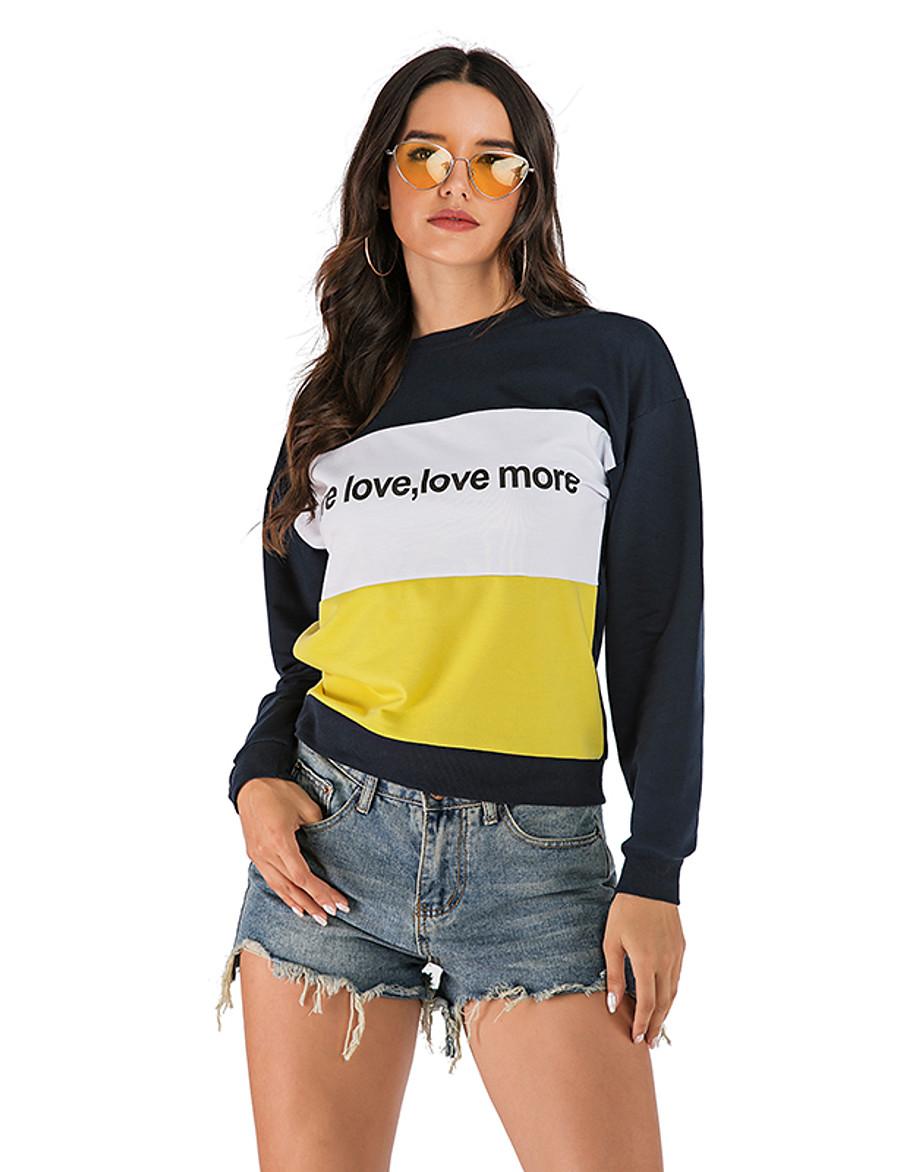 Women's Plus Size Sweatshirt Color Block / Solid Colored / Letter Basic Blue S M L XL