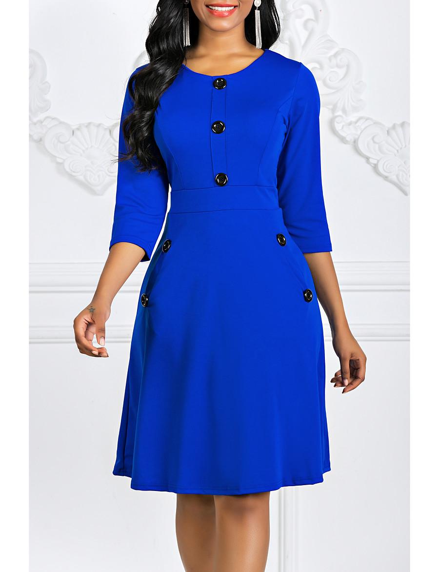 Women's A Line Dress - 3/4 Length Sleeve Vintage Black Purple Red Green Royal Blue S M L XL XXL