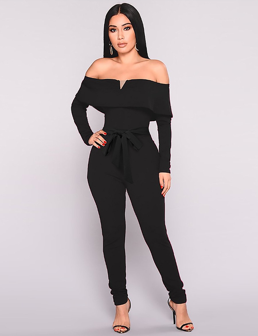 Women's Street chic / Sophisticated Black Wine Jumpsuit, Solid Colored Backless / Bow / Drawstring S M L