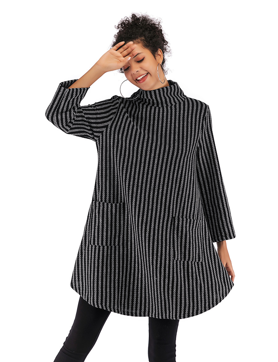 Women's Basic / Street chic Sweatshirt - Striped Black M