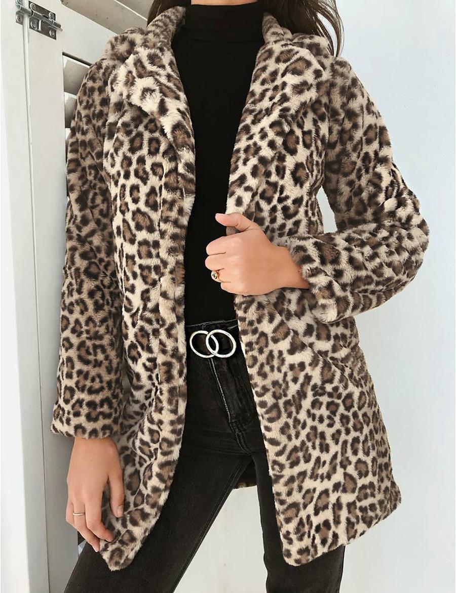 Women's Fall & Winter Teddy Coat Regular Leopard Print Daily Khaki Gray S M L XL