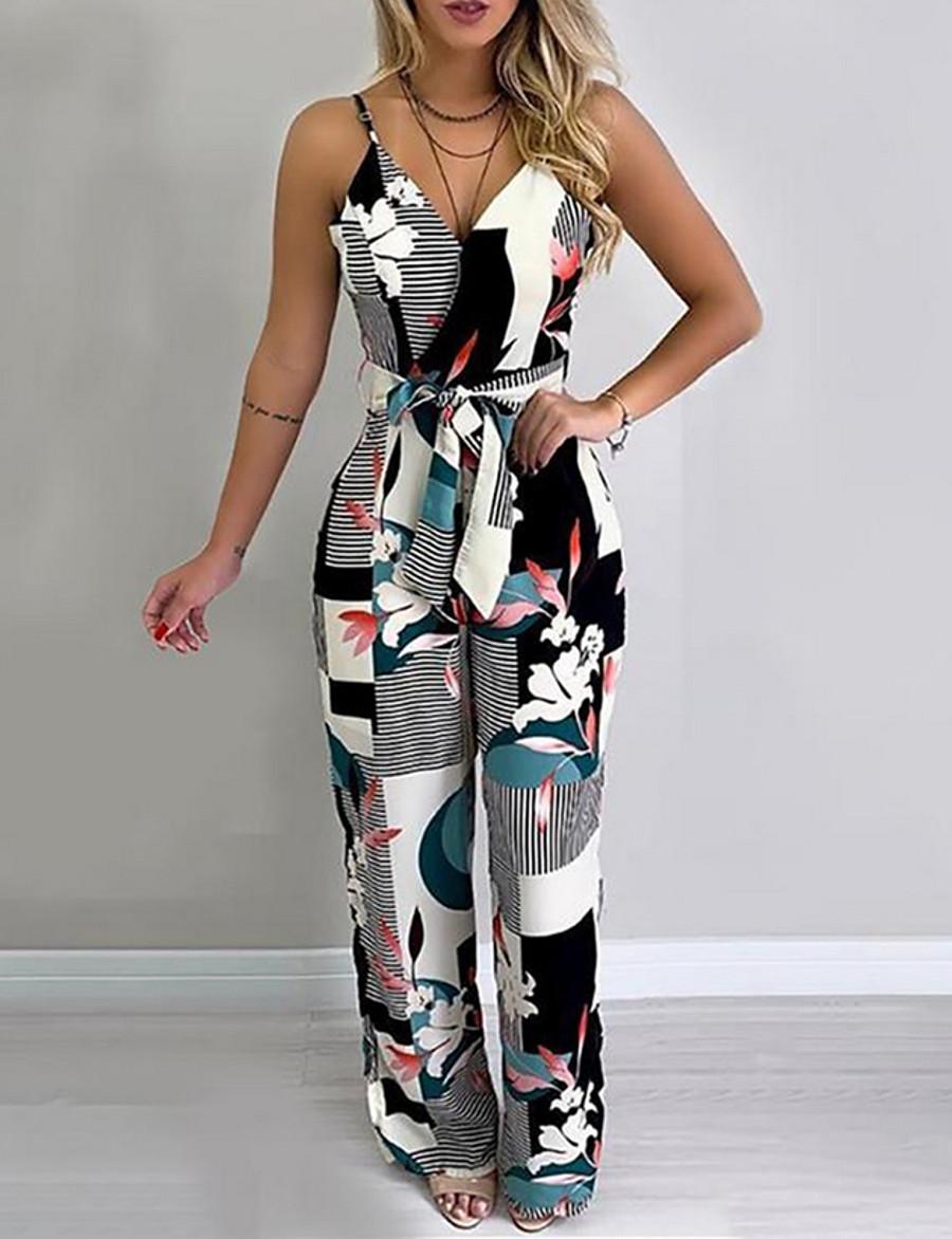 Women's Basic Strap Black Slim Jumpsuit Geometric Print