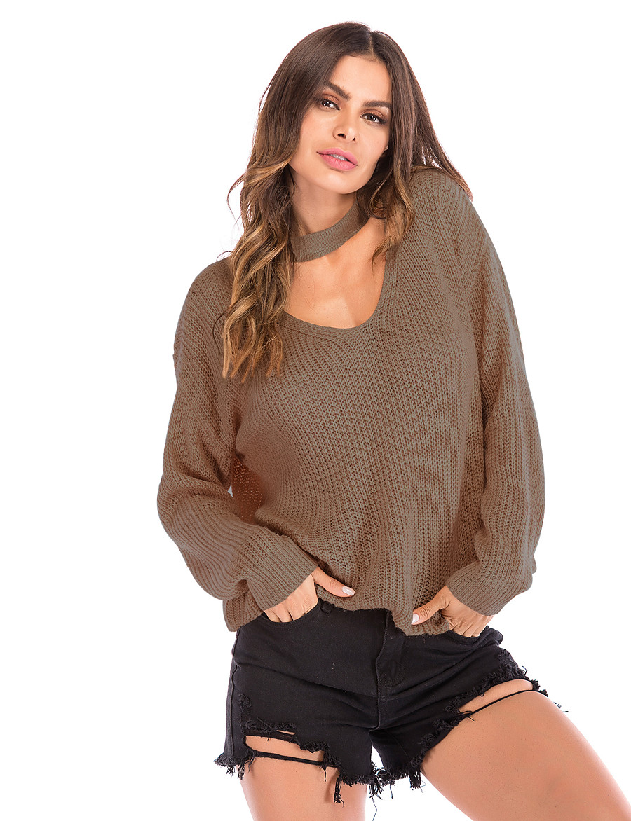 Women's Solid Colored Long Sleeve Loose Pullover Sweater Jumper, V Neck Fall Wine / Blushing Pink / Army Green M / L / XL
