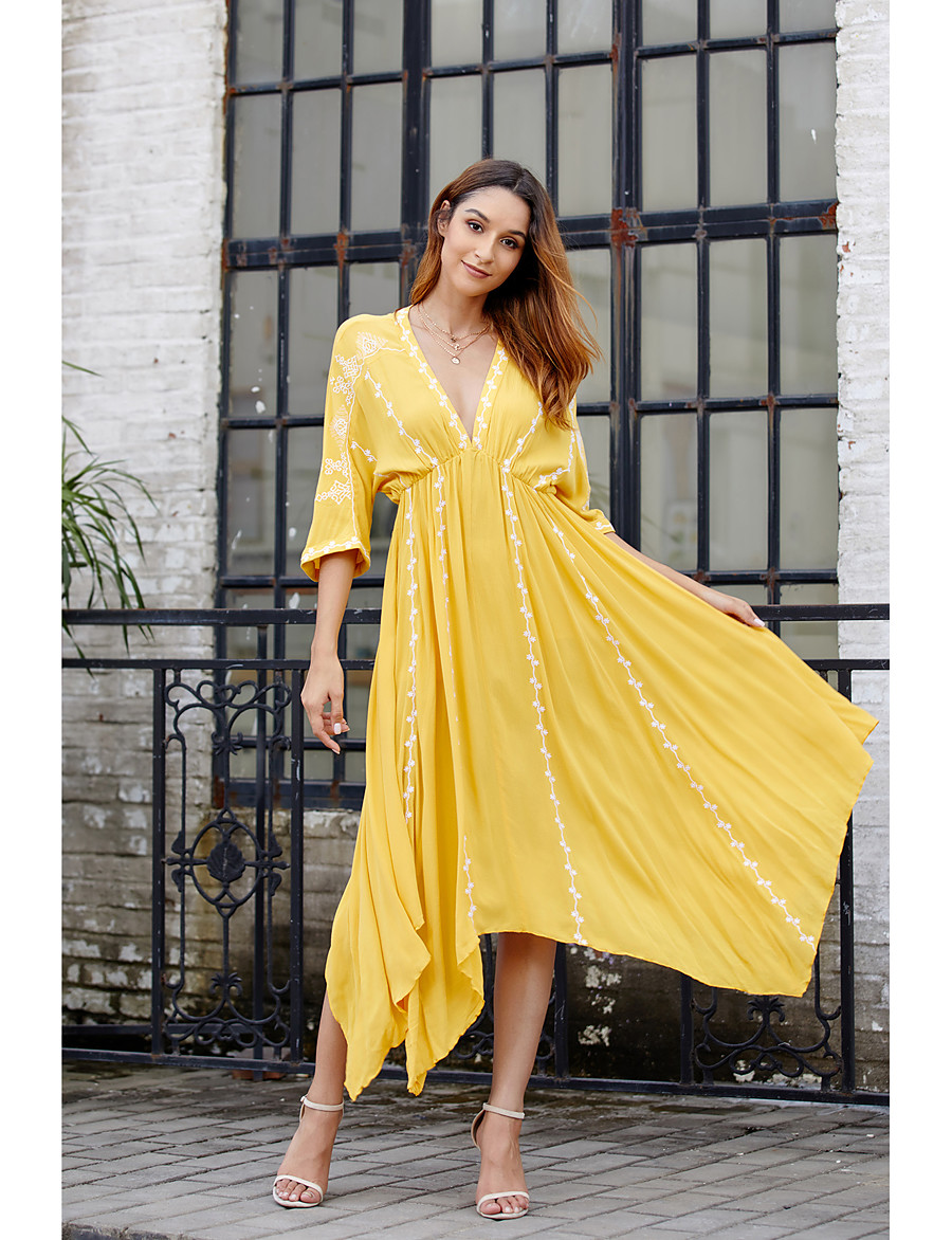 Women's Basic Sheath Skater Dress - Solid Colored Ruched Patchwork Yellow S M L XL