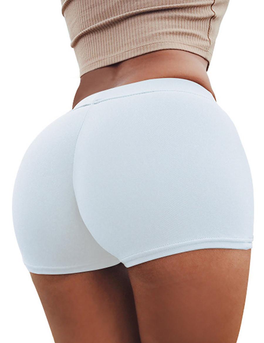 Women's Basic Legging - Solid Colored, Print Mid Waist Black Wine White M L XL / Slim