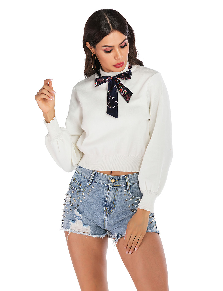 Women's Basic / Street chic Sweatshirt - Solid Colored White S