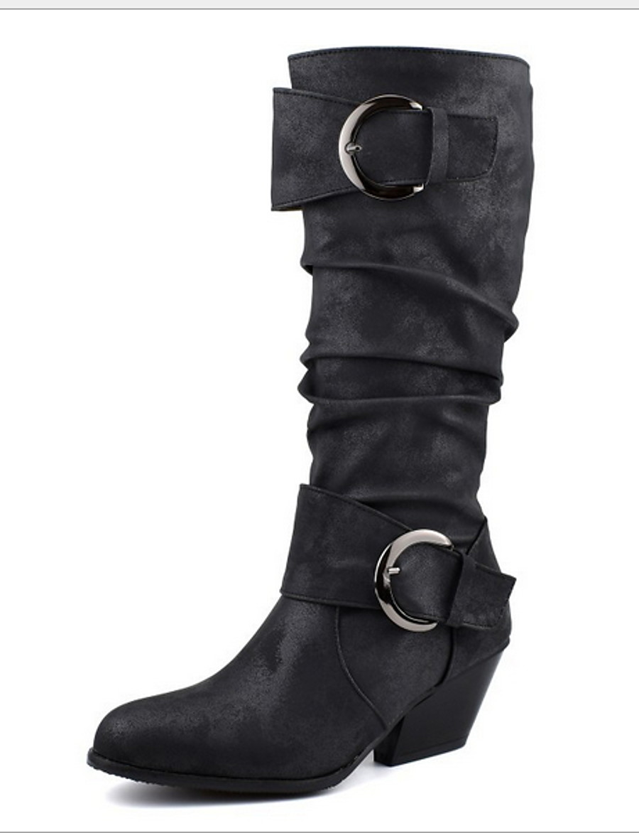 Women's Boots Plus Size Flat Heel Round Toe Daily PU Mid-Calf Boots Black / Yellow / Brown