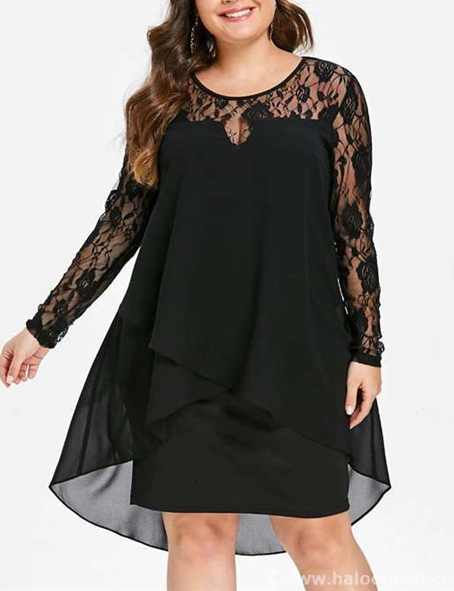 Women's Chiffon Dress Knee Length Dress - Long Sleeve Solid Colored Layered Lace Spring & Summer Plus Size Elegant Going out Chiffon Loose 2020 Black Blue Wine S M L XL XXL 3XL 4XL 5XL