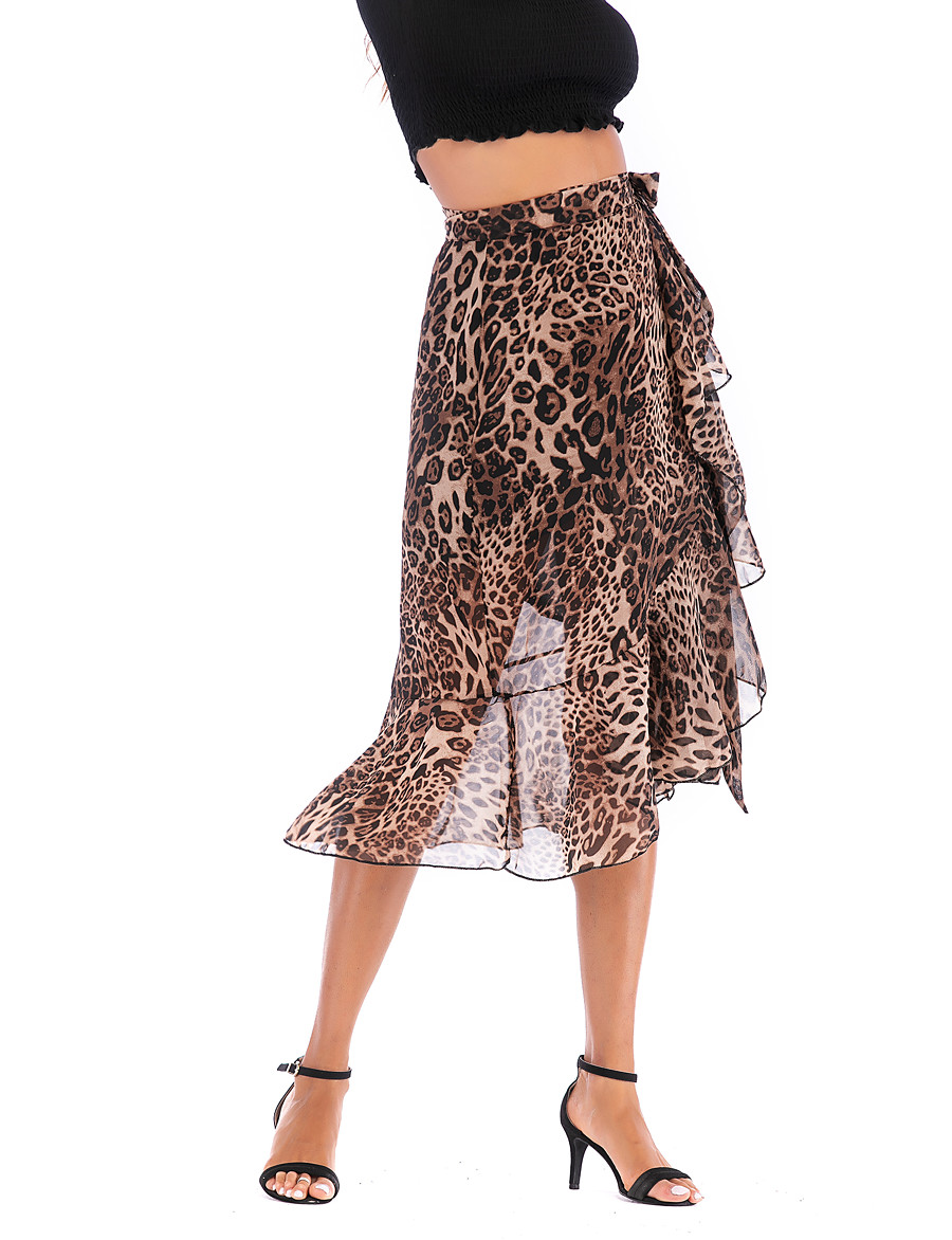 Women's Basic / Street chic A Line Skirts - Leopard Chiffon / Print Brown M L XL
