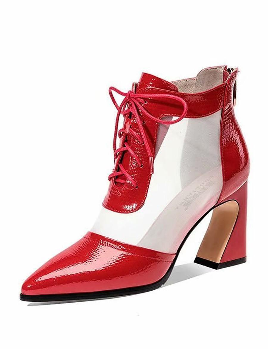 Women's Boots Chunky Heel Daily Mesh PU Black / Red