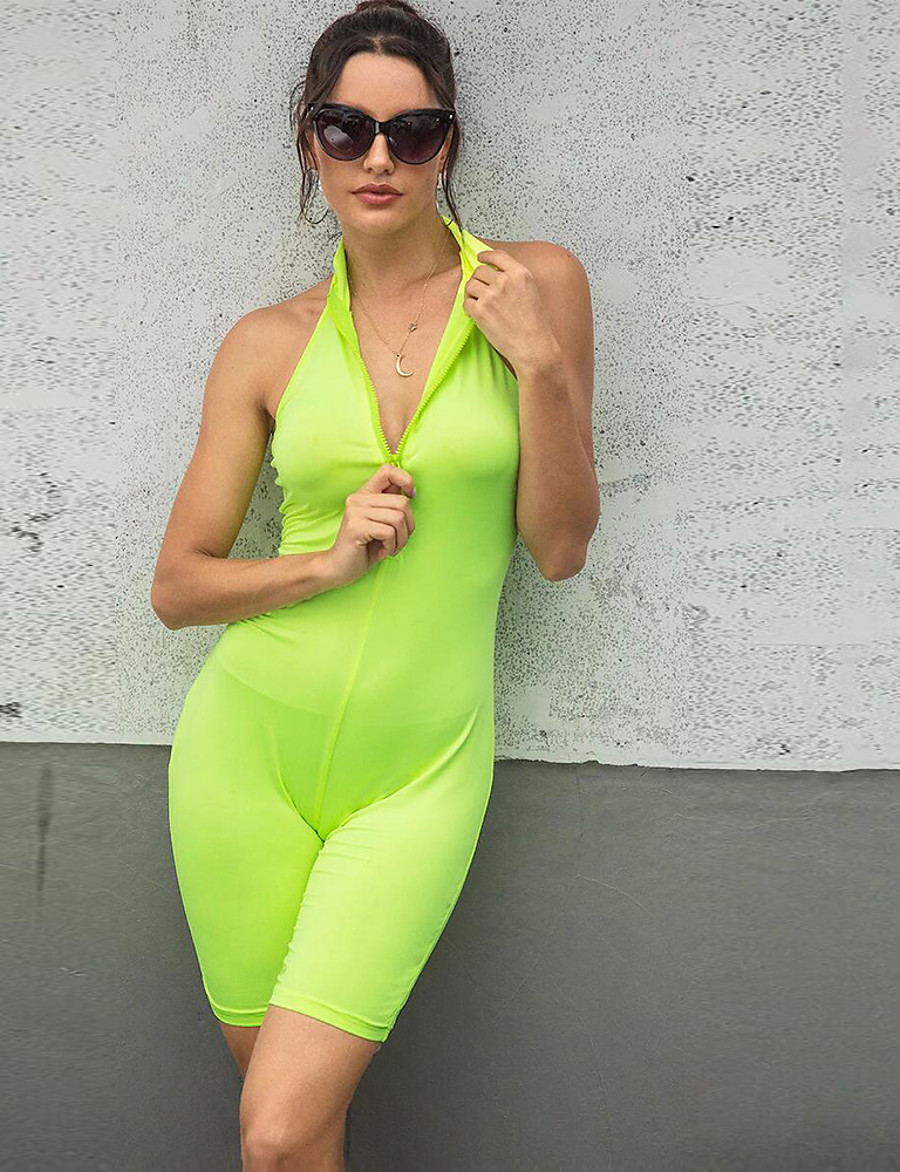 Women's Basic / Sophisticated Green Romper, Solid Colored Backless / Patchwork S M L