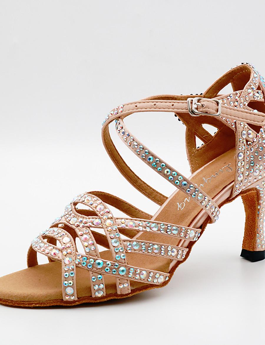 Femme Chaussures de danse Chaussures Latines Talon Paillette Brillante Cristal / strass Détail Cristal Talon Cubain Amande Noir Sangle croisée / Utilisation / Satin / Cuir / Entraînement