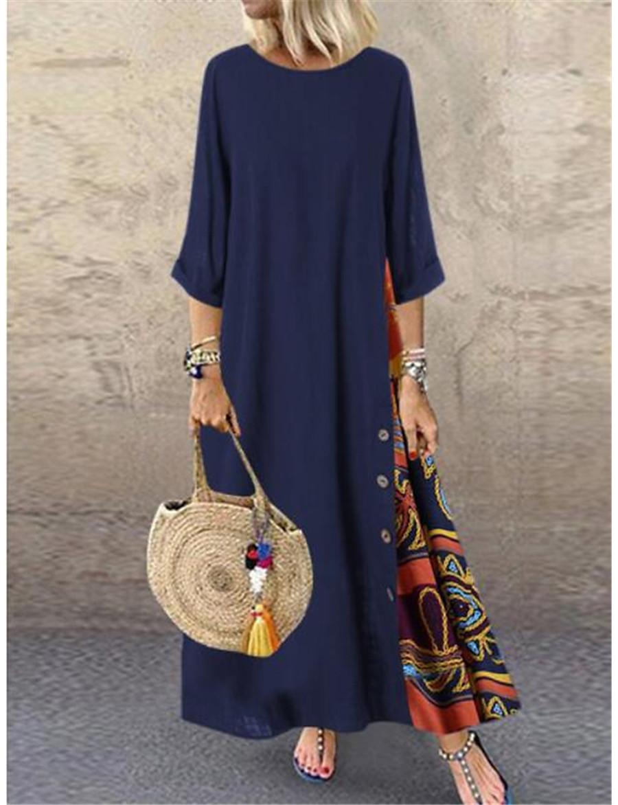 Women's Swing Dress Maxi long Dress - 3/4 Length Sleeve Print Print Spring & Summer Casual Hot Holiday vacation dresses Loose 2020 Red Yellow Wine Army Green Navy Blue Gray L XL XXL 3XL 4XL 5XL