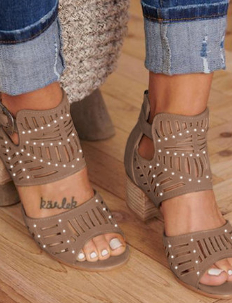 Women's Sandals Glitter Crystal Sequined Jeweled Chunky Heel Round Toe Buckle PU Summer Khaki / Blue / Black