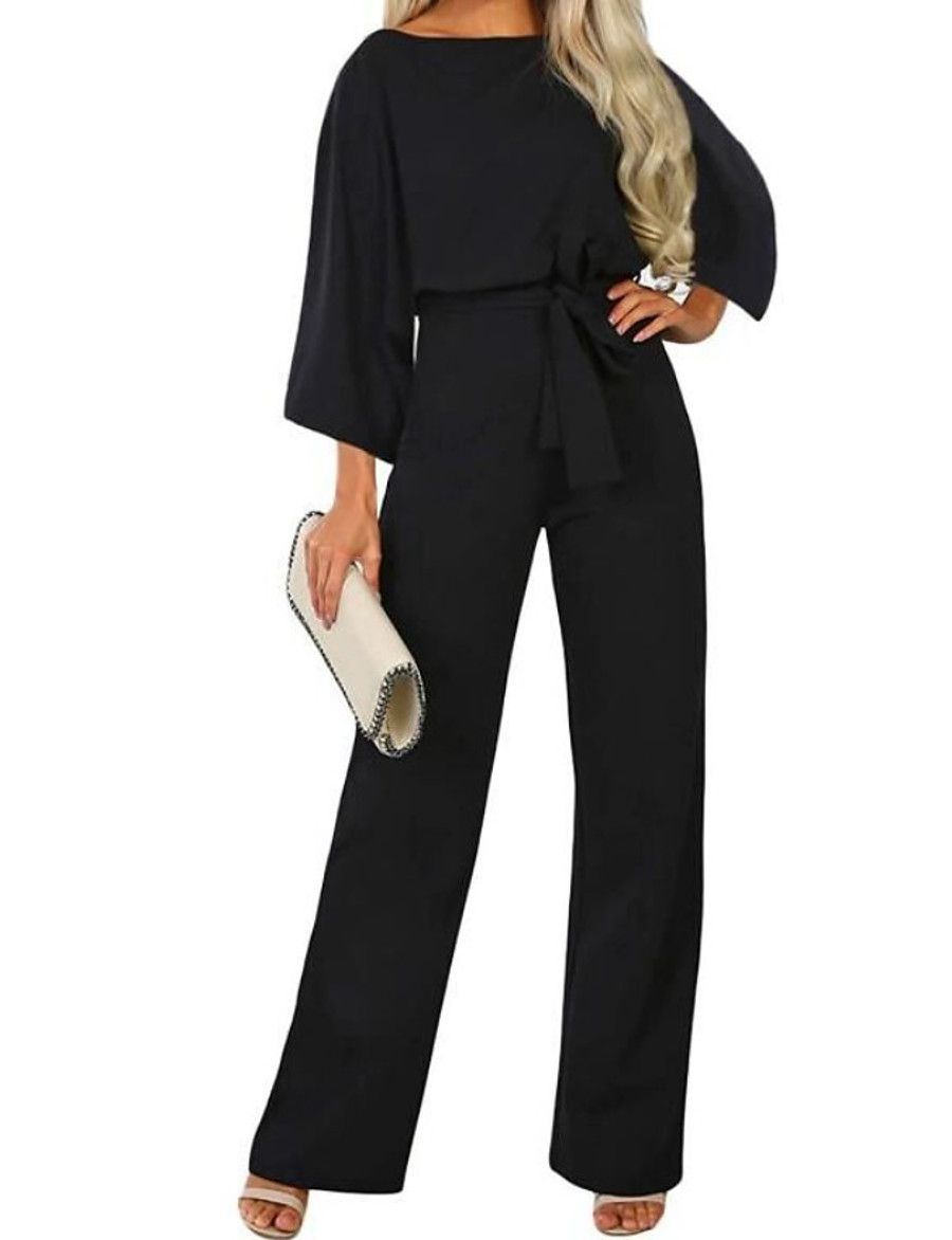 Women's Street chic Black Navy Blue Beige Loose Jumpsuit Onesie, Solid Colored Drawstring S M L