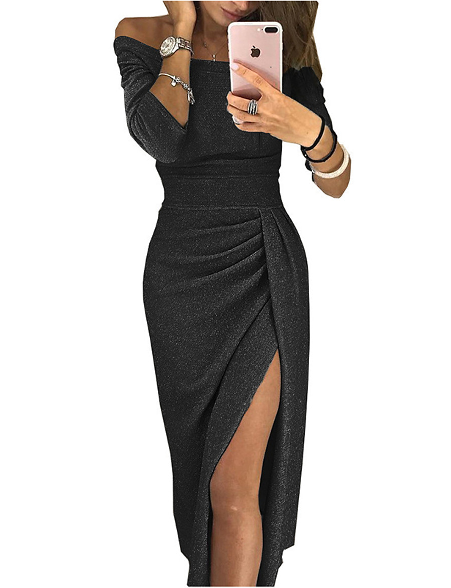 Women's Bodycon Midi Dress - 3/4 Length Sleeve Solid Color Solid Colored Ruched Split Off Shoulder Hot Sexy Going out Off Shoulder Black Red Blushing Pink Brown Light Green Beige Gray S M L XL XXL 3XL