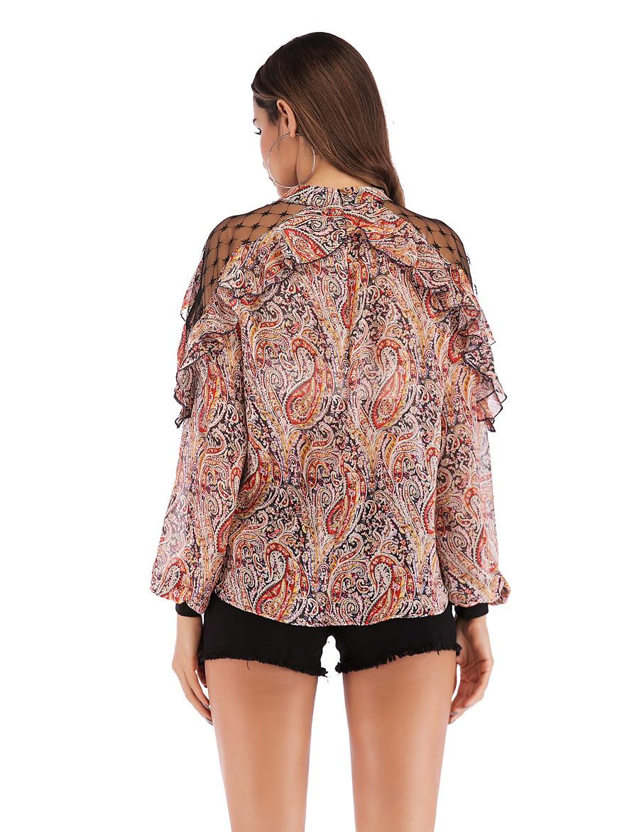 Women's Daily Basic / Street chic Shirt - Geometric Print Red