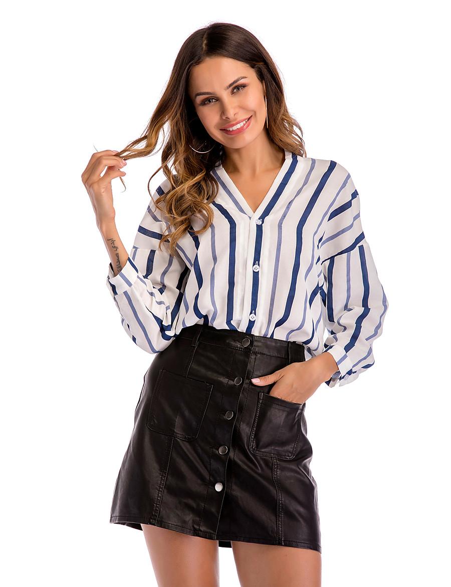 Women's Daily Basic / Street chic Shirt - Striped Patchwork Blue