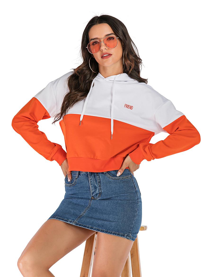 Women's Basic / Street chic Hoodie - Letter Orange S